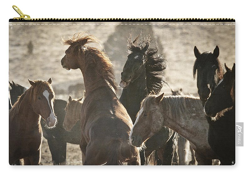 Wild Horse Battle Carry-all Pouch featuring the photograph Wild Horse Battle by Wes and Dotty Weber