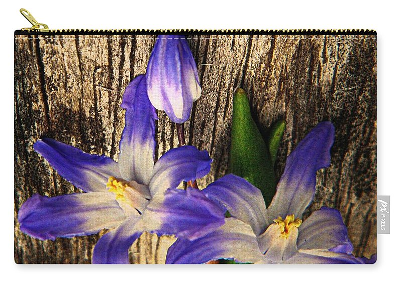 Earthy Carry-all Pouch featuring the photograph Wildflowers On Wood by Chris Berry