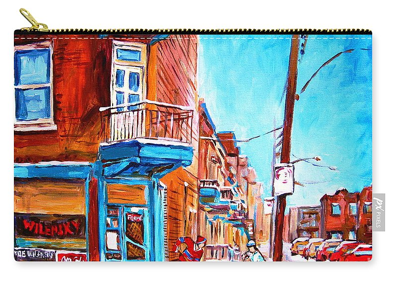Cityscape Carry-all Pouch featuring the painting Wilensky Corner by Carole Spandau
