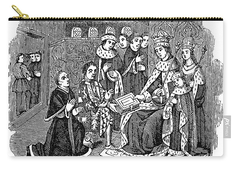 15th Century Carry-all Pouch featuring the photograph William Caxton (c1421-1491) by Granger