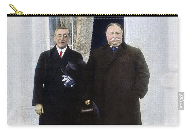 1913 Carry-all Pouch featuring the photograph Wilson & Taft: White House by Granger