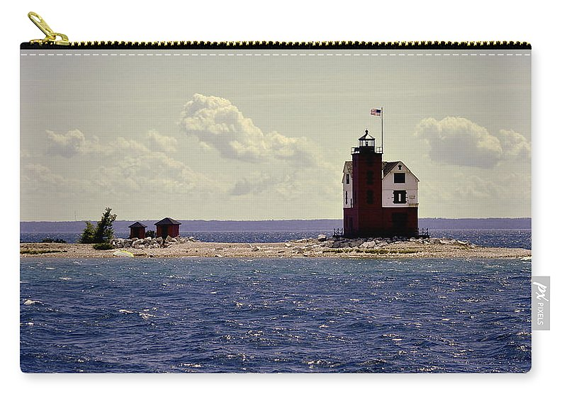 Mackinac Island Carry-all Pouch featuring the photograph Wind At The Light by Marysue Ryan