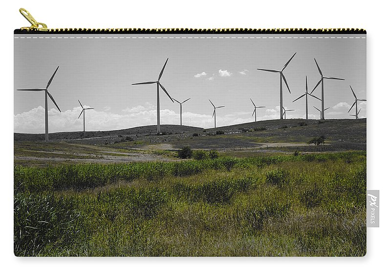 Aerogenerator Carry-all Pouch featuring the photograph Wind Farm Iv by Ricky Barnard