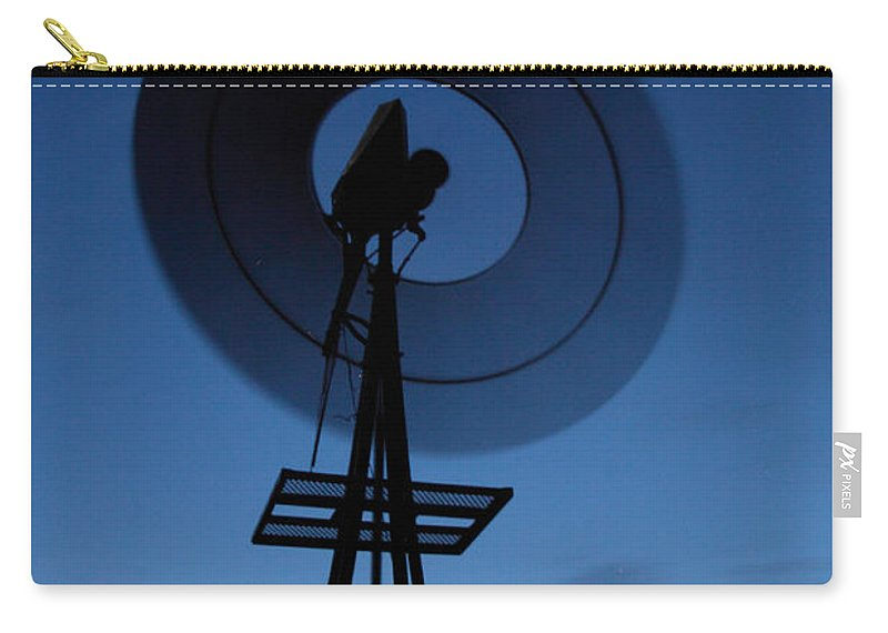 Widmill Carry-all Pouch featuring the photograph Windlill At Night by Rebecca Akporiaye