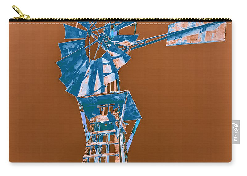 Windmill Carry-all Pouch featuring the photograph Windmill Blue by Rebecca Margraf