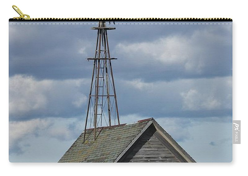 Windmill Carry-all Pouch featuring the photograph Windmill In The Storm by Teresa McGill