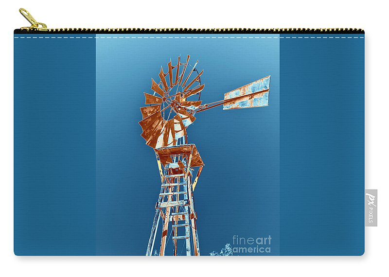 Windmill Carry-all Pouch featuring the photograph Windmill Rust Orange With Blue Sky by Rebecca Margraf
