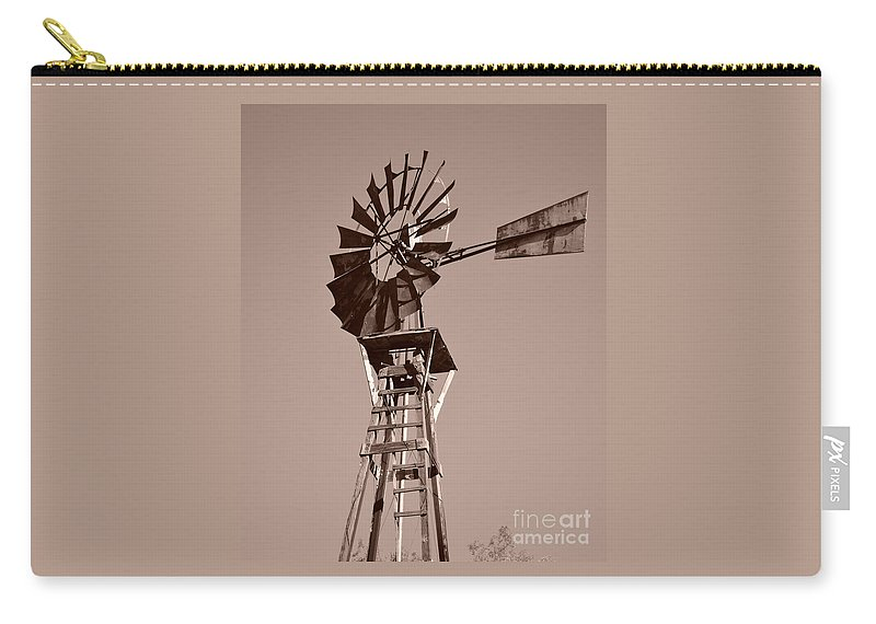 Windmill Carry-all Pouch featuring the photograph Windmill Sepia by Rebecca Margraf