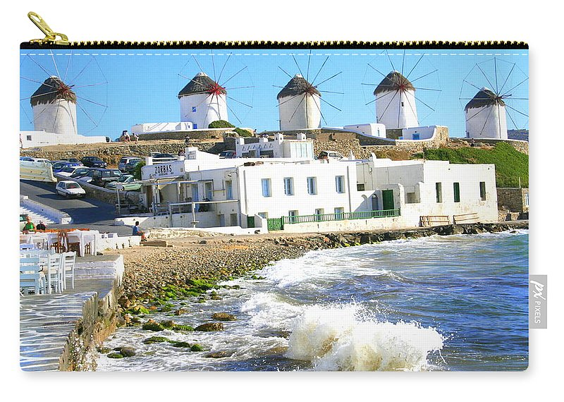 Mykonos Carry-all Pouch featuring the photograph Windmills On Mykonos by Laurel Talabere