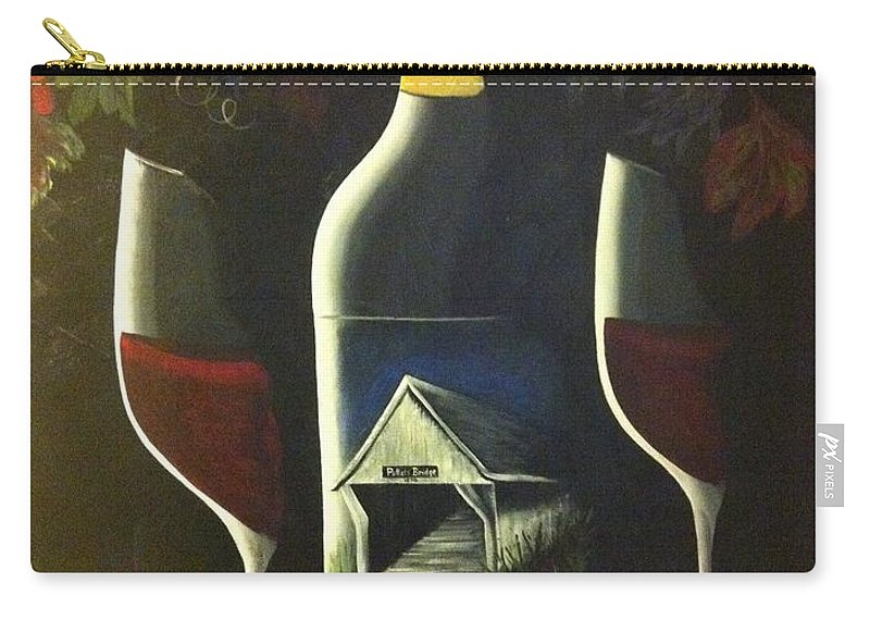 Red Wine Carry-all Pouch featuring the painting Wine And A Little More by Julie Cranfill