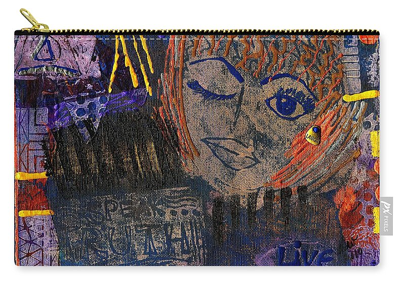 Acrylic Carry-all Pouch featuring the mixed media Wink Wink by Angela L Walker