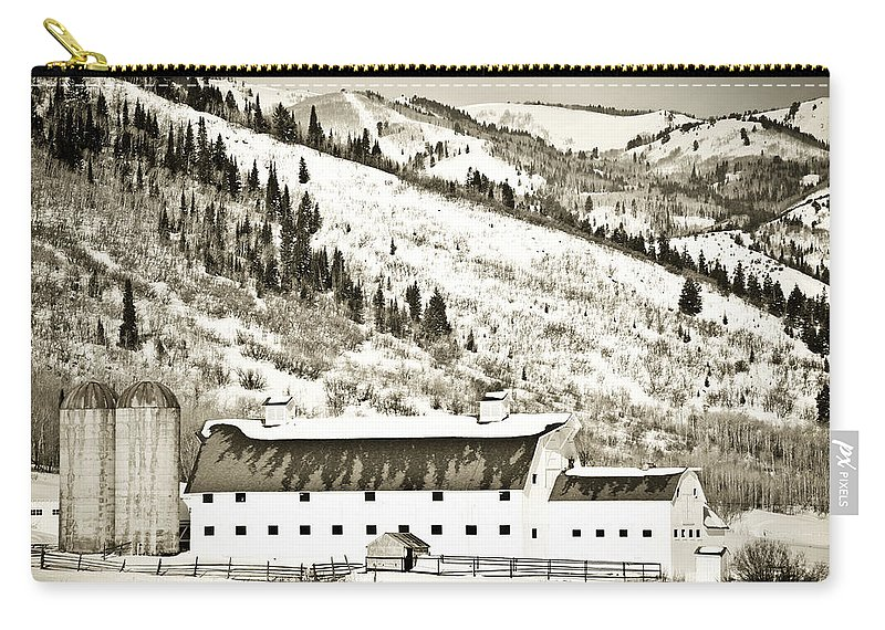 Winter Carry-all Pouch featuring the photograph Winter Barn 1 by Marilyn Hunt