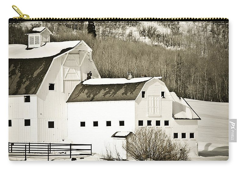 Winter Carry-all Pouch featuring the photograph Winter Barn 4 by Marilyn Hunt