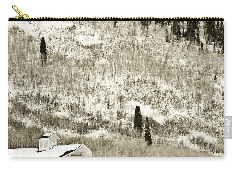 Winter Carry-all Pouch featuring the photograph Winter Barn 5 by Marilyn Hunt