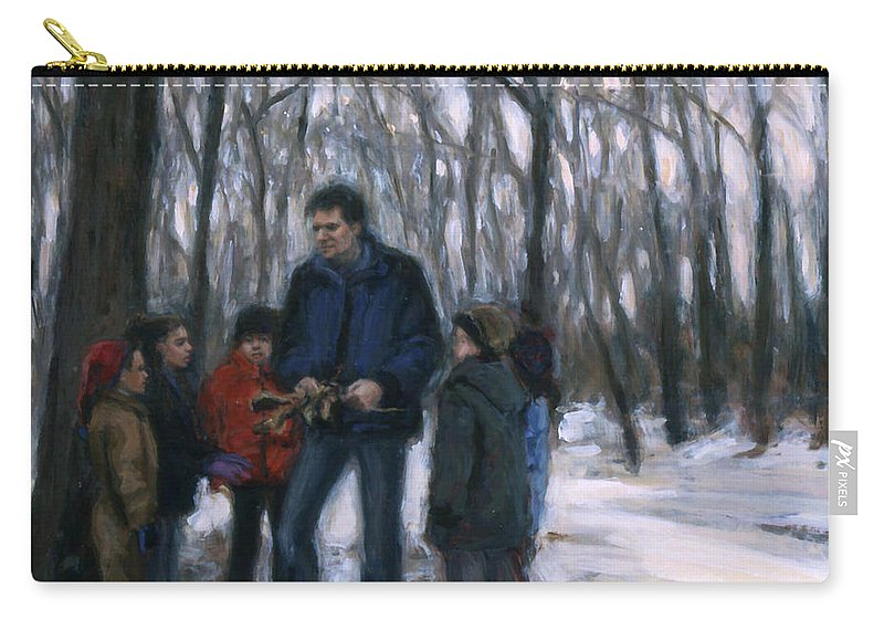 Sarah Yuster Carry-all Pouch featuring the painting Winter Explorers by Sarah Yuster