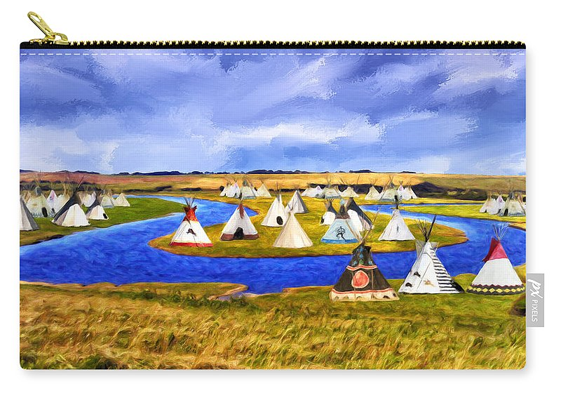Winter Carry-all Pouch featuring the painting Winter Gathering Place by Dominic Piperata