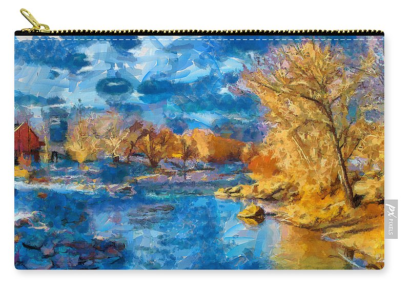Santa Carry-all Pouch featuring the digital art Winter In Salida -- Renoir by Charles Muhle