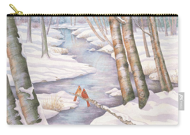 Cardnal Carry-all Pouch featuring the painting Winter Romance by Robert Boast Cornish