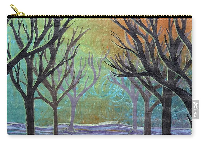 Winter Solitude 3 Carry-all Pouch featuring the painting Winter Solitude 11 by Jacqueline Athmann