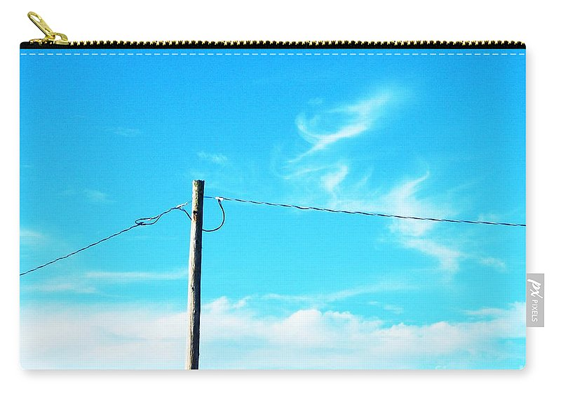 Power Lines Carry-all Pouch featuring the photograph Wire Wrangler by Lizi Beard-Ward