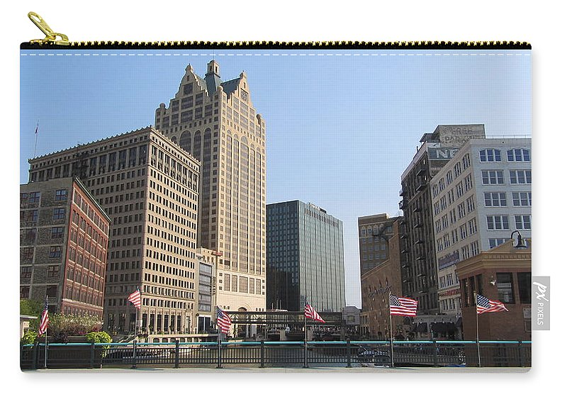 Milwaukee Carry-all Pouch featuring the photograph Wisconsin River Brige With Flags by Anita Burgermeister
