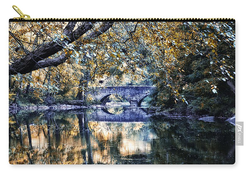 Wissahickon Creek At Bells Mill Carry-all Pouch featuring the photograph Wissahickon Creek At Bells Mill by Bill Cannon