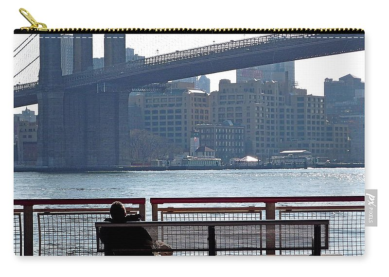 New York Carry-all Pouch featuring the photograph With Ny In Front Of Me by Valentino Visentini