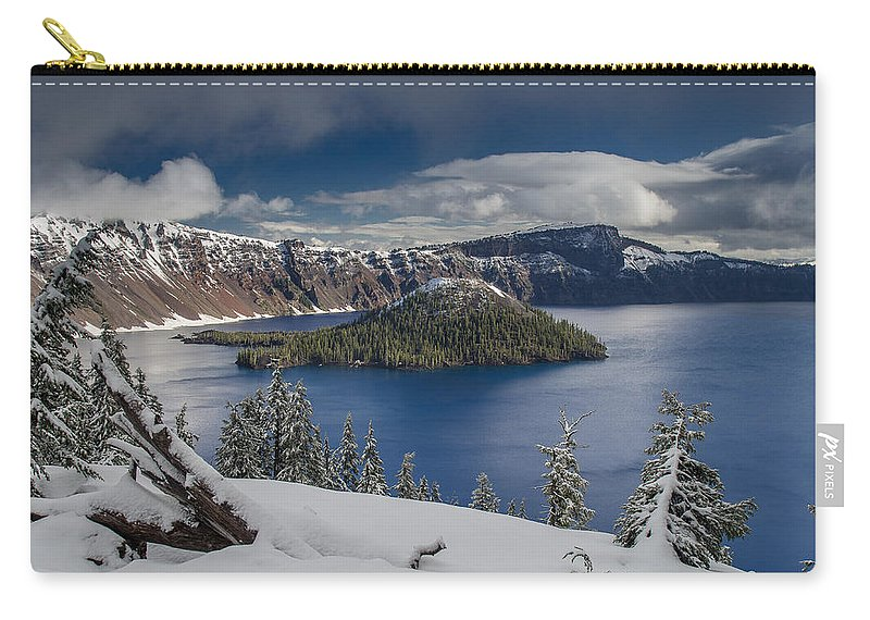 Cascades Carry-all Pouch featuring the photograph Wizard Island After Summer Snowfall by Greg Nyquist