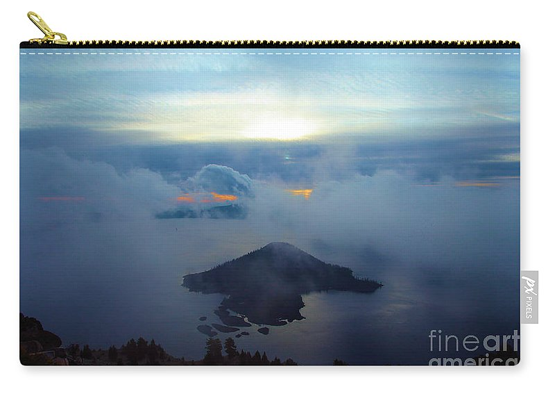 Crater Lake National Park Carry-all Pouch featuring the photograph Wizard Island At Crater Lake by Adam Jewell