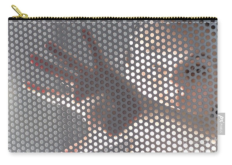 Hand Carry-all Pouch featuring the photograph Woman Behind A Metal Mesh by Mats Silvan
