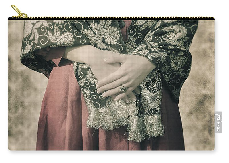 Woman Carry-all Pouch featuring the photograph Woman With Shawl by Joana Kruse