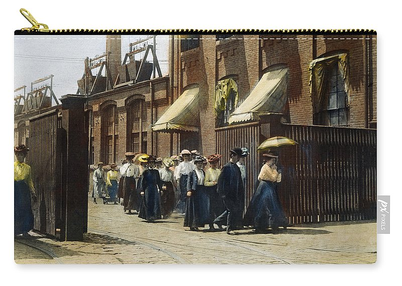1895 Carry-all Pouch featuring the photograph Women Leaving Work, 1895 by Granger