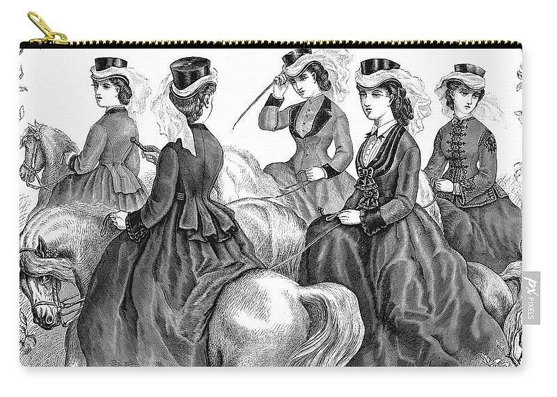 1870 Carry-all Pouch featuring the photograph Womens Fashion, 1870 by Granger