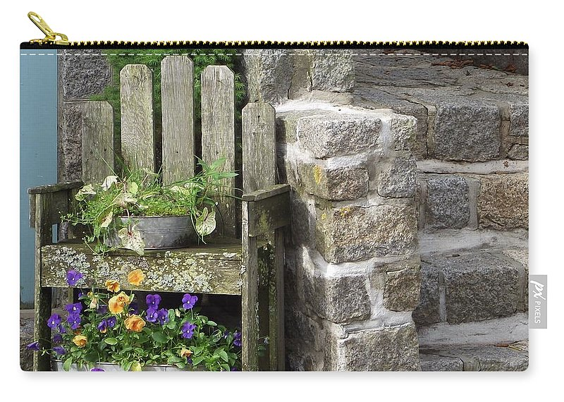 Granite Stone Steps Carry-all Pouch featuring the photograph Wood And Granite by Michelle Welles