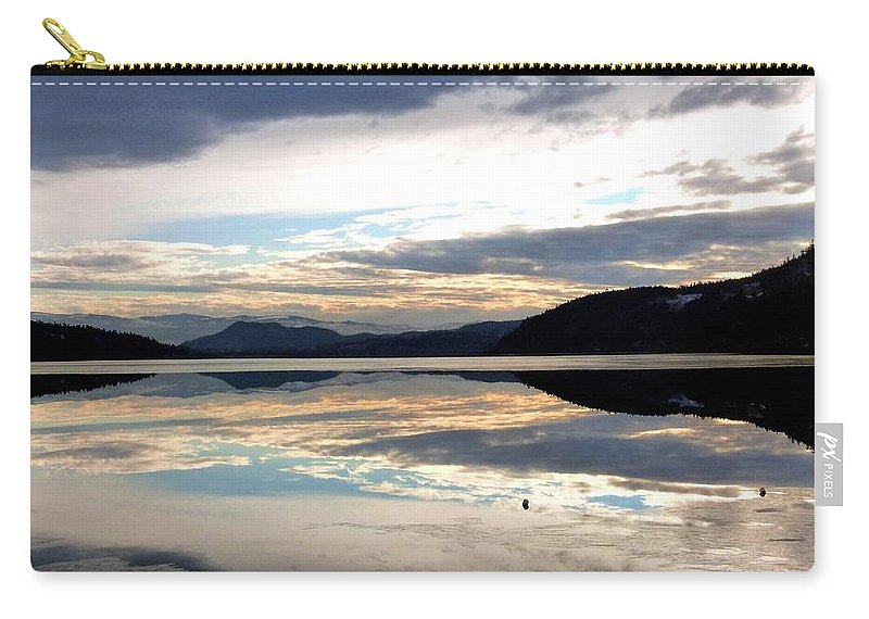 Wood Lake Carry-all Pouch featuring the photograph Wood Lake Mirror Image by Will Borden