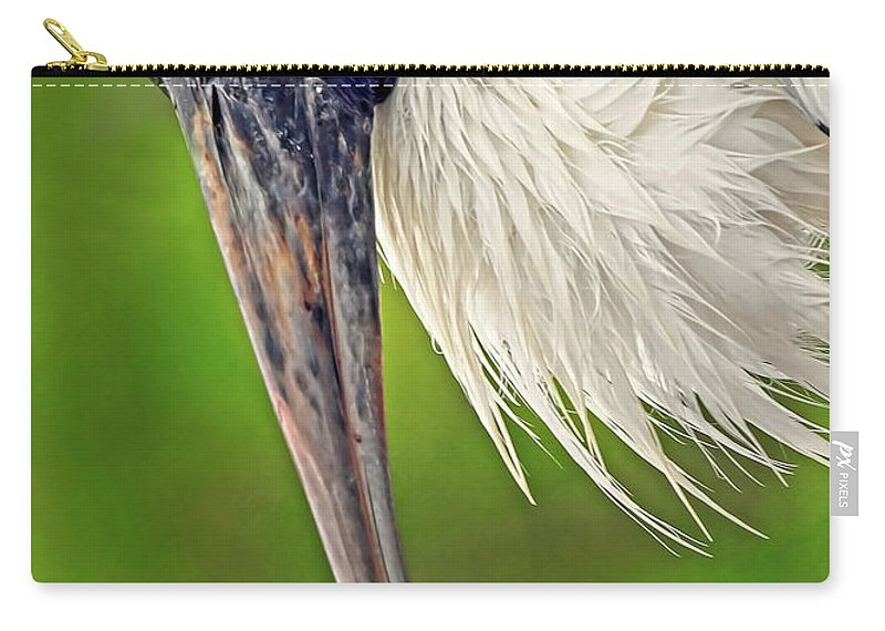 Woodstork Carry-all Pouch featuring the photograph Woodstork Portrait by Dave Mills