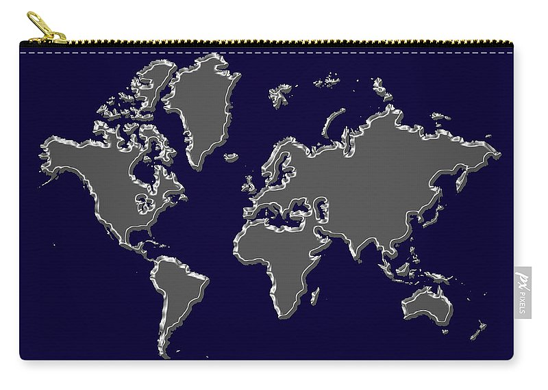 Map Carry-all Pouch featuring the photograph World Map Silver by Andrew Fare