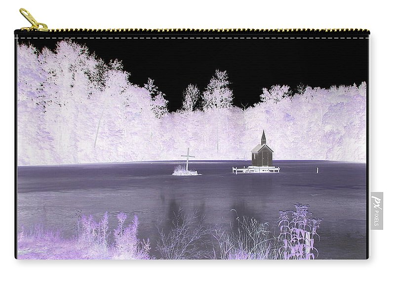 Chapel Carry-all Pouch featuring the photograph Worlds Smallest Chapel Church Negative Inverted Image by Rose Santuci-Sofranko