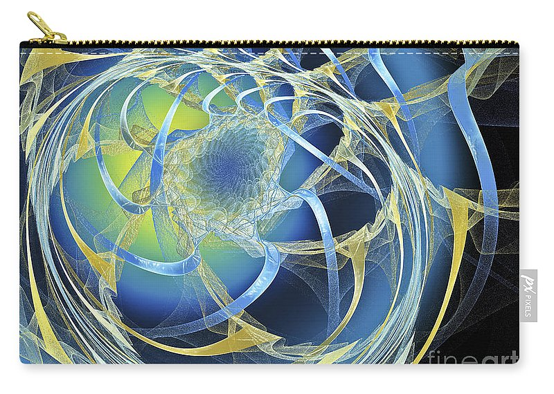 Fractal Carry-all Pouch featuring the digital art Woven Blue Ribbons by Andee Design