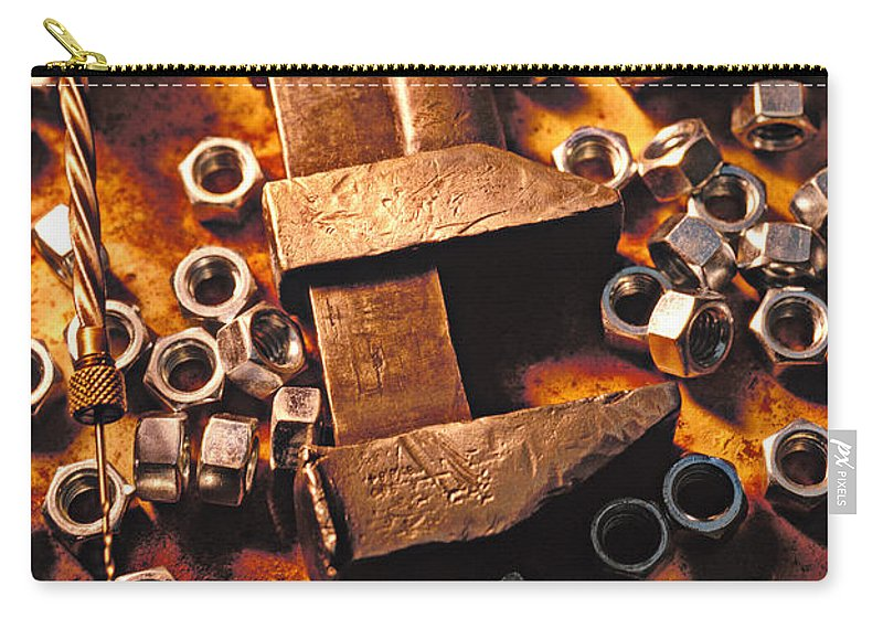 Tool Carry-all Pouch featuring the photograph Wrench Tools And Nuts by Garry Gay
