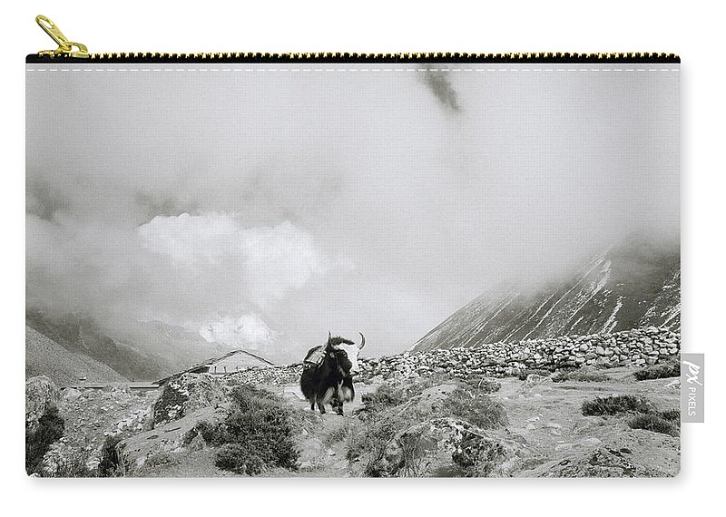 Asia Carry-all Pouch featuring the photograph Yak In The Himalaya by Shaun Higson