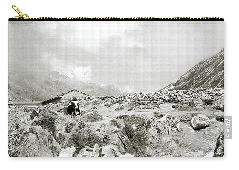 Asia Carry-all Pouch featuring the photograph Yaks In The Himalaya by Shaun Higson