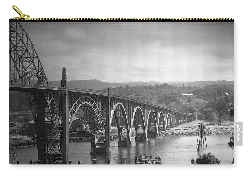 Yaquina Carry-all Pouch featuring the photograph Yaquina Bay Bridge Oregon B And W by Joyce Dickens