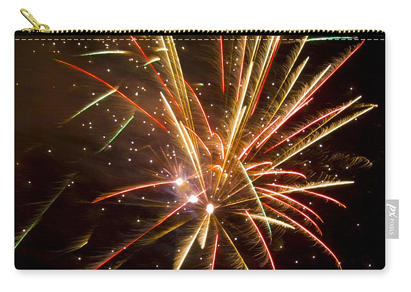 Fireworks Carry-all Pouch featuring the photograph Yellow And Red Fireworks by Darleen Stry