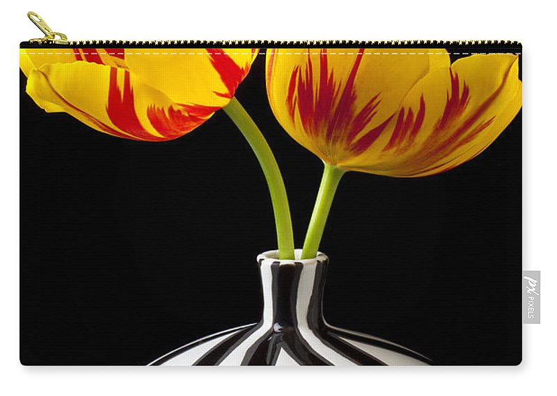 Yellow Carry-all Pouch featuring the photograph Yellow And Red Tulips by Garry Gay