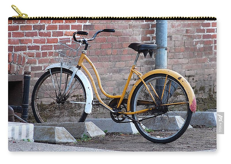 Monk Bicycle Yellow Cruiser Monastery Vina Ca Carry-all Pouch featuring the photograph Yellow Cruiser by Holly Blunkall