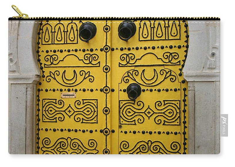 Yellow Carry-all Pouch featuring the photograph Yellow Door In Bardo by Laurel Talabere
