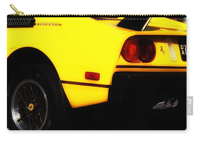 Yellow Ferrari Carry-all Pouch featuring the photograph Yellow Ferrari by Bill Cannon
