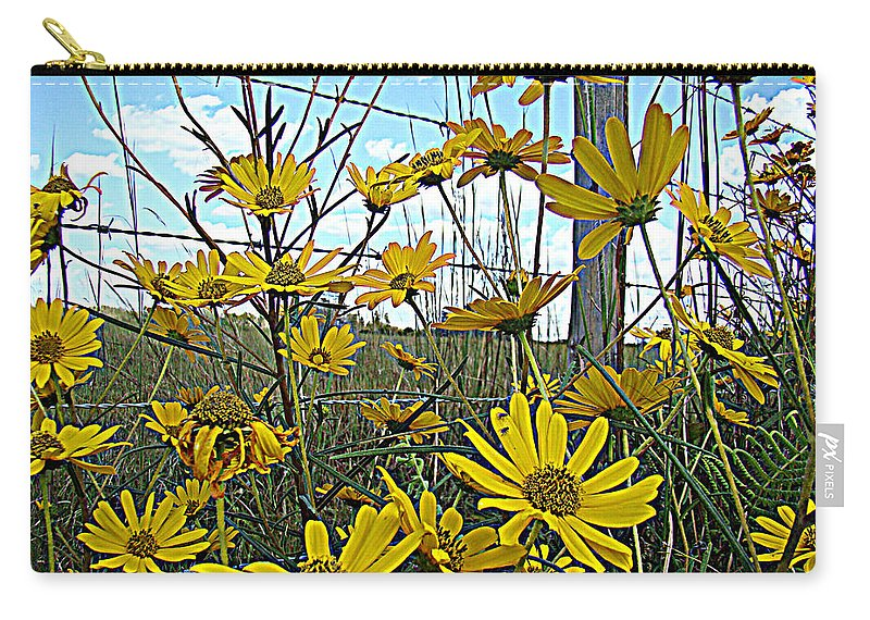 Yellow Flowers Roadside Pretty Carry-all Pouch featuring the photograph Yellow Flowers By The Roadside by Alice Gipson