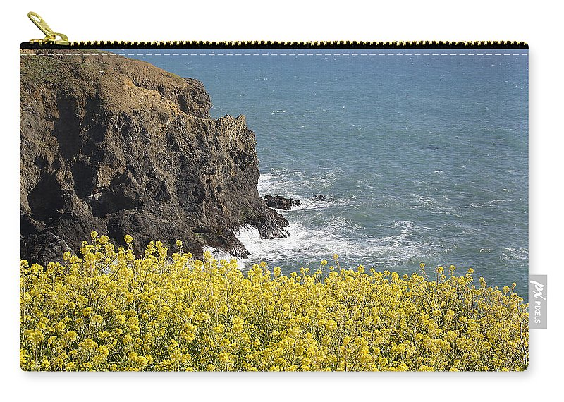 Highway 1 Carry-all Pouch featuring the photograph Yellow Flowers On The Northern California Coast by Mick Anderson